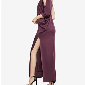 BCBG cascading one shoulder gown